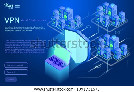 Secure VPN connection concept. Isometric vector illustration in ultraviolet colors. Virtual private network connectivity overview.