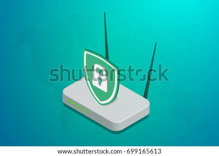 Secure wifi. Isometric vector illustration.