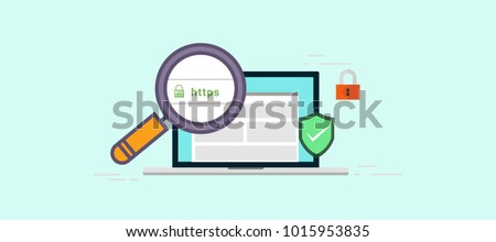 Secure your site with HTTPS, internet communication protocol that protects the integrity and confidentiality of data between the user's computer and the site vector illustration