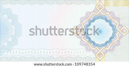 Secured Guilloche Background for Voucher Gift Certificate Coupon or Banknote Vector