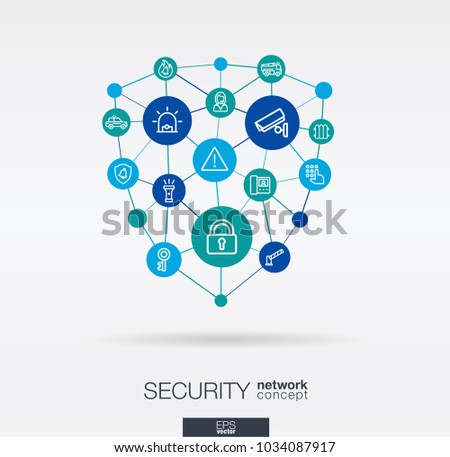 Security, access control integrated thin line web icons in shield shape. Digital network concept. Connected graphic design polygons, circles system. Cctv, protect, safety vector abstract background. Stock foto ©