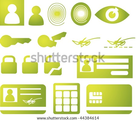 Security and biomtetric icon set, clipart illustration