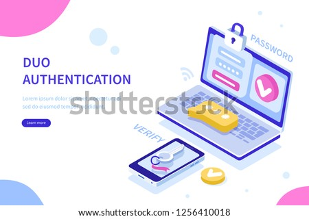 Security authentication concept. Can use for web banner, infographics, hero images. Flat isometric vector illustration isolated on white background.