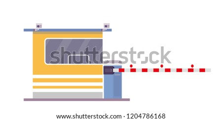 Security cabin and gate,isolated on white background,flat vector illustration