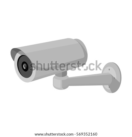 Security camera icon in monochrome style isolated on white background. Parking zone symbol stock vector illustration.