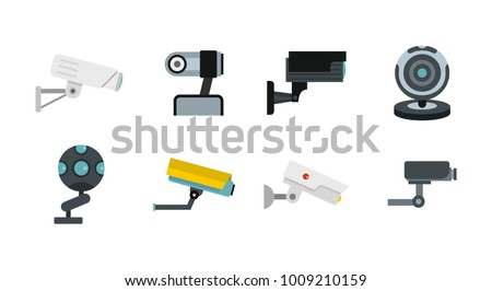 Security camera icon set. Flat set of security camera vector icons for web design isolated on white background