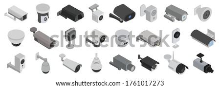 Security cameras isolated isometric set icon. Vector illustration cctv on white background. Vector isometric set icon security cameras.