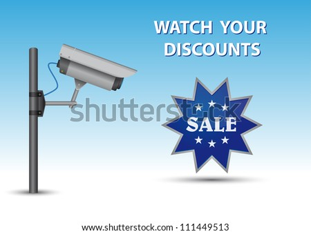 Security cctv camera with open lens and wires on pole. Blue sticker with text Sale and au above text Watch Your Discounts.