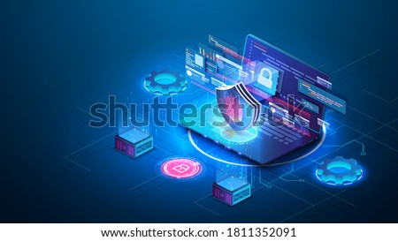 Security Data Protection concept on blue laptop. Isometric digital protection mechanism, system privacy. Window with user authorization. Data secure. Safety internet technology, data secure. Vector