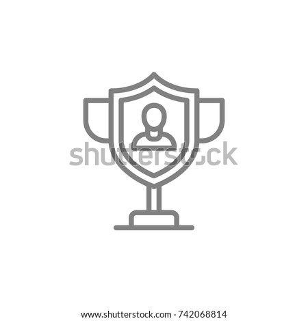 Security Experts vector icon. Winner, Goblet, Win, Shield, Protection and more. Pixel Perfect. Vector Illustration.