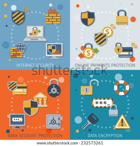 security flat icons set with