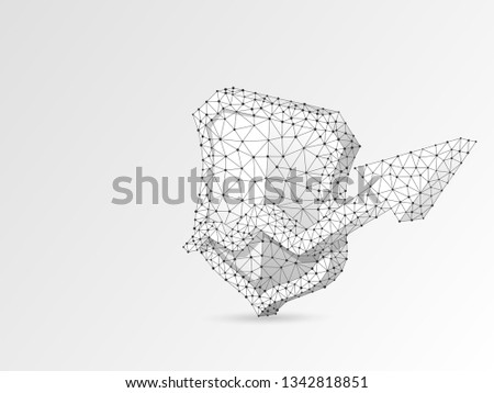 Security growth arrow shield abstract origami image. Polygonal Vector business concept of data protection illustration. Low poly wireframe, geometry triangle, lines, dots, polygons on white background