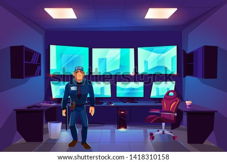Security guard in control cctv room with multiple monitors displaying video from surveillance cameras with outside and inside monitoring views. Guardian center with screens cartoon vector illustration