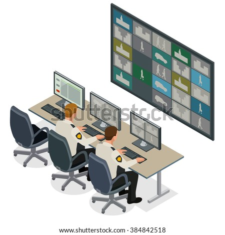 Security-guard watching video monitoring surveillance security system. Mans In Control Room-Monitoring Multiple Cctv Footage. Video surveillance concept. Flat 3d isometric vector illustration