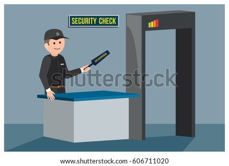 Security guard with detector on security post. Metal detector frame. Vector illustration