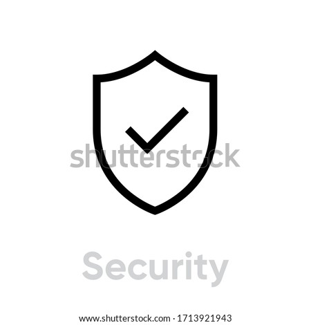 Security icon. Editable Vector Outline. Flat shield and checkmark icon. Safety, protection. Single Pictogram. Photo stock ©