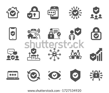 Security icons. Cyber lock, password, unlock. Guard, shield, home security system icons. Eye access, electronic check, firewall. Internet protection, laptop password. Quality design element. Vector