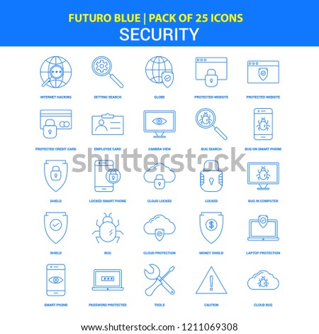 Security Icons - Futuro Blue 25 Icon pack