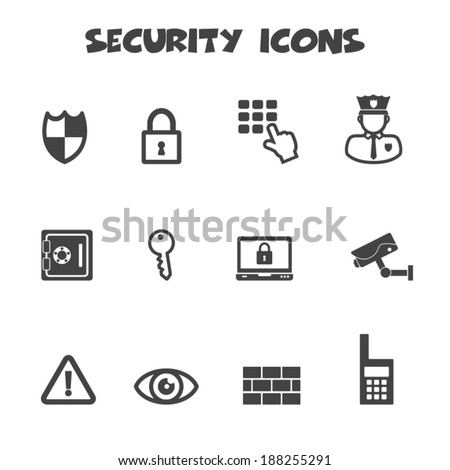 security icons mono vector symbols