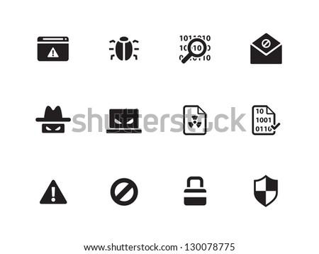 Security icons on white background. Vector illustration.