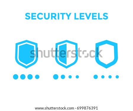 security levels icons with shields