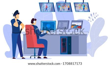 Security men looking at video monitors of surveillance cameras of supermarket center cartoon vector illustration. Security system technology monitoring supermarkets shop shelves.