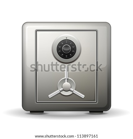 Security metal safe isolated on white. Vector illustration - stock vector