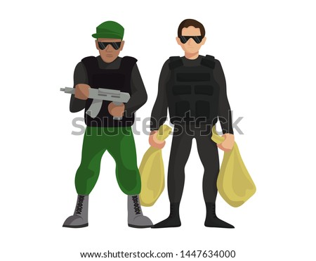 Security money collector guardian crime people with weapon standing vector illustration. Bank bodyguard uniform protection officer flat style secure event male in sunglasses with gun and money bags