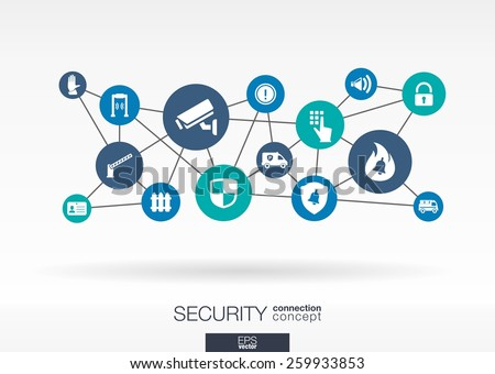 Security network. Growth abstract background with lines, circles, integrate flat icons. Connected symbols for guard, protection, monitoring, safety or control concepts. Vector interactive illustration