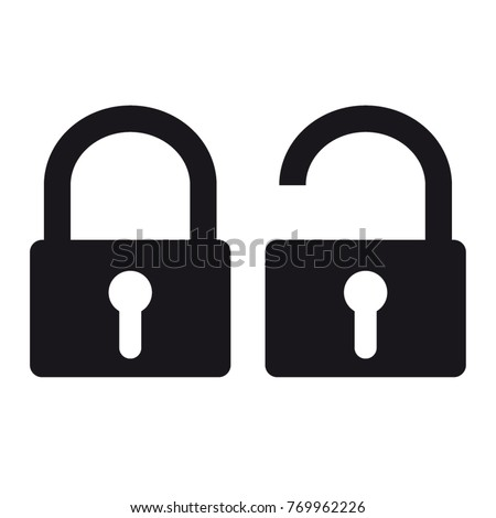 Security Padlock - Locked And Unlocked Vector Icons