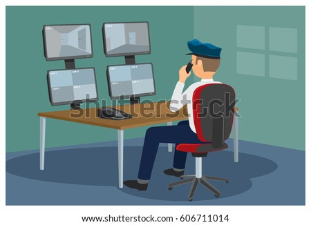 Security post. The security guard watching a video on monitors from surveillance cameras. Vector illustration