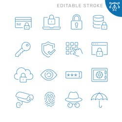 Security related icons. Editable stroke. Thin vector icon set