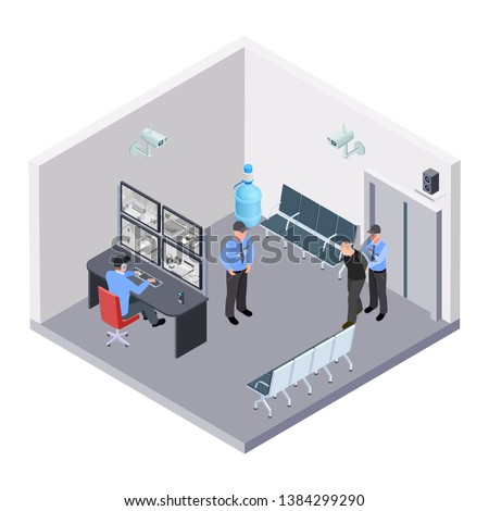 Security room in airport, railway or bus station isometric vector concept