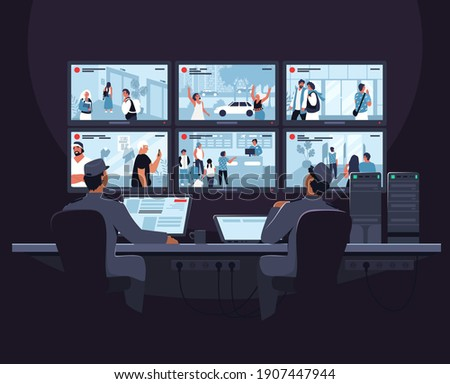 Security room. Two male security guard cartoon characters monitoring cctv video footage on computer screen, flat vector illustration. Video surveillance system. Сток-фото ©