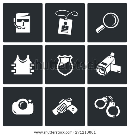 security service icons set