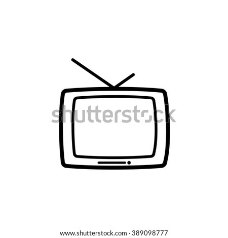 security set tv old line icon
