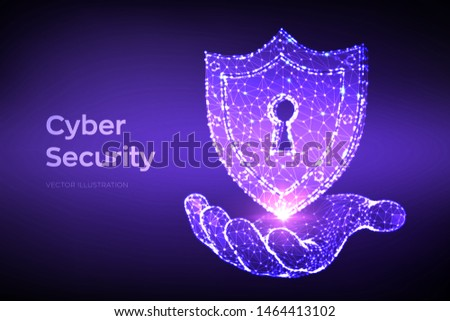 Security shield. Cyber security. Shield With Keyhole icon in hand. Protect and Security of Safe concept. Illustrates cyber data security or information privacy idea. Low polygonal vector Illustration.