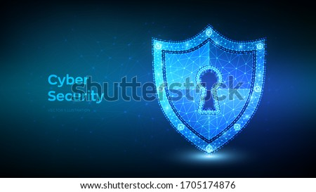 Security shield. Cyber security. Shield With Keyhole icon. Protect and Security of Safe concept. Illustrates cyber data security or information privacy idea. Low polygonal vector Illustration.