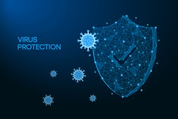 Security shield for virus protection. Coronavirus, 2019-nCoV safety concept made by low polygonal wireframe mesh on blue background. Shield and virus cells. Vaccine, medicine, antibiotic. Vector.