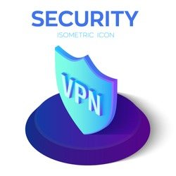 Security Shield Isometric Icon. VPN - virtual private network icon. 3D Isometric Security Shield Sign. Created For Mobile, Web, Decor, Print Products, Application. Vector Illustration.