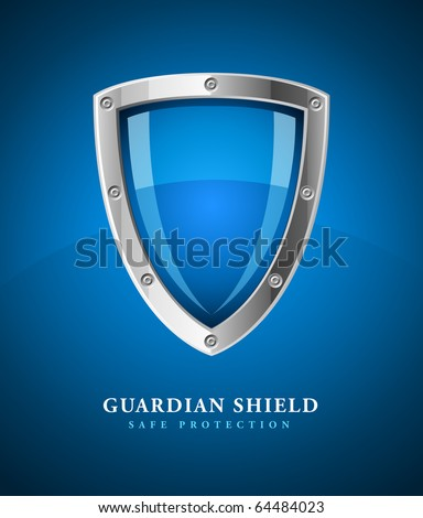 security shield symbol icon vector illustration on blue background