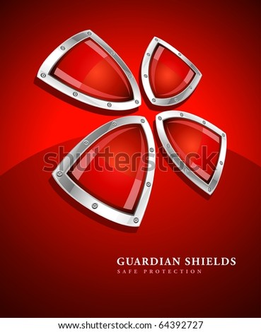 security shield symbol icon vector illustration on red background