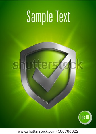 Security shield symbol on green background. Vector illustration
