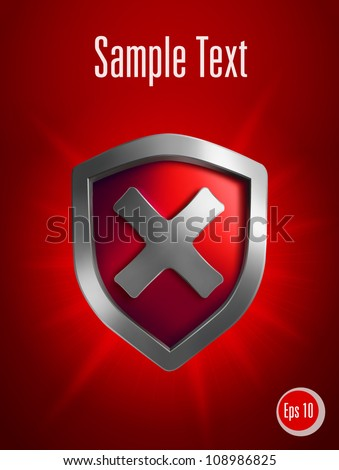 Security shield symbol on red background. Vector illustration