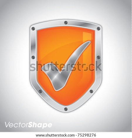 Security shield with check mark symbol icon vector illustration