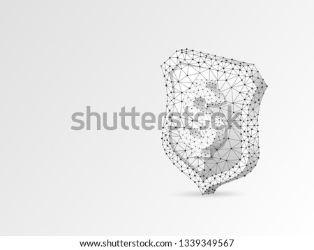 Security shield with USD sign abstract origami illustration. Polygonal Vector business concept of money protection. Low poly wireframe, geometry triangle, lines, dots, polygons on white background