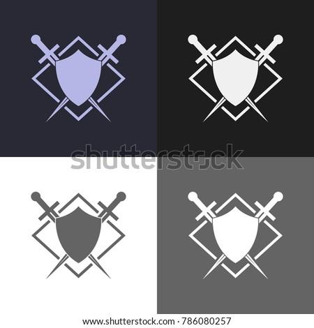 Security sign. Shield and sword emblem.