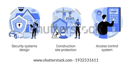 Security solutions abstract concept vector illustration set. Security systems design, construction site protection, access control system, commercial building, authorize entry abstract metaphor.