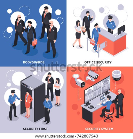 Security system isometric design concept with bodyguards, office access control, video monitoring, checkpoint isolated vector illustration