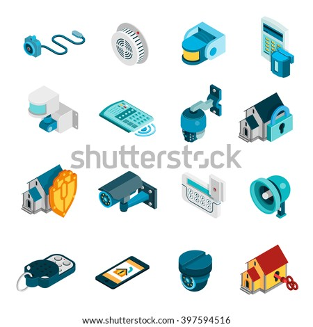 security system isometric icons